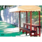 Mangaris Wood Single Bench & Single Table Gazebo #3327 - Cabana Benches