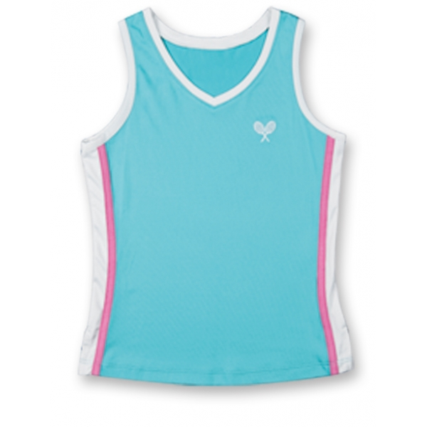 Little Miss Tennis Classic Tank (Aqu/ Wht/ Pnk)