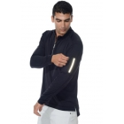 Bloq-UV Men's Mock Zip Long Sleeve Top (Black) - Men's Tops