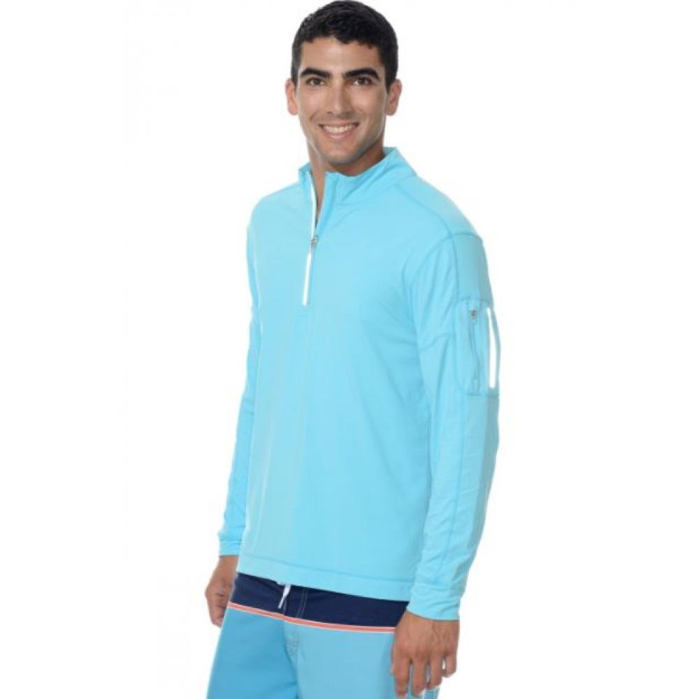 BloqUV Men's UV Protection Mock Zip Long Sleeve Shirt (Light Turquoise)
