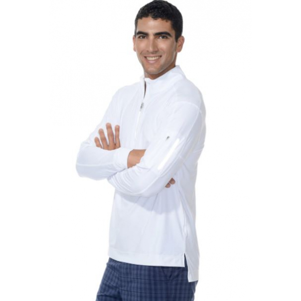 BloqUV Men's UV Protection Mock Zip Long Sleeve Shirt (White)