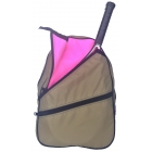 Maggie Mather Tennis Backpack (Khaki/Blooming Pink) - Maggie Mather Tennis Backpacks