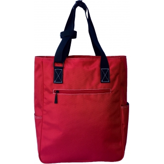 Maggie Mather Tennis Tote with Zipper Closure (Lipstick Red)