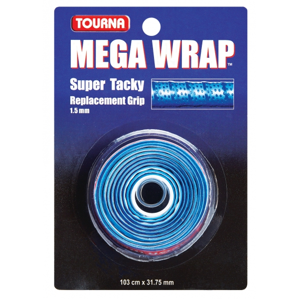 Tourna Mega Wrap Tennis Racquet Replacement Grip (Blue)