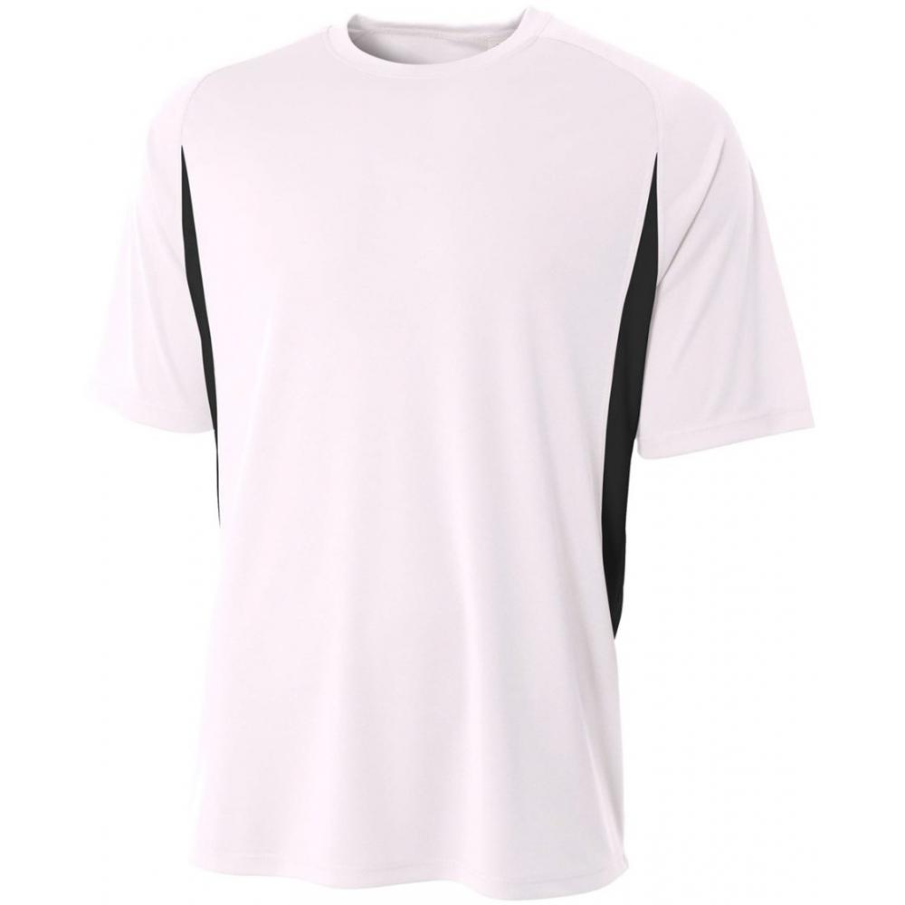 A4 Men's Performance Color Block Crew Shirt (White)
