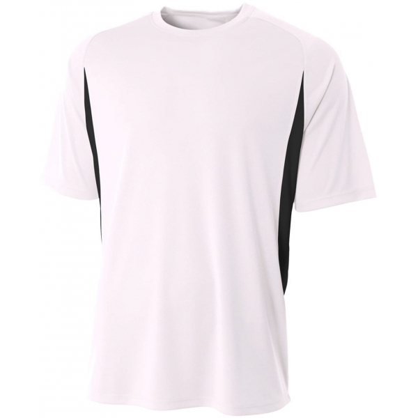A4 Men's Performance Color Block Crew Shirt (White)