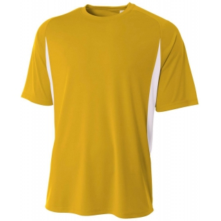A4 Men's Performance Color Block Crew Shirt (Gold)