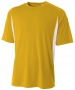 A4 Men's Performance Color Block Crew Shirt (Gold) - A4 Men's Apparel Tennis Apparel