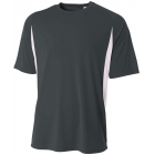 A4 Men's Performance Color Block Crew Shirt (Graphite) - A4 Team Tennis Apparel