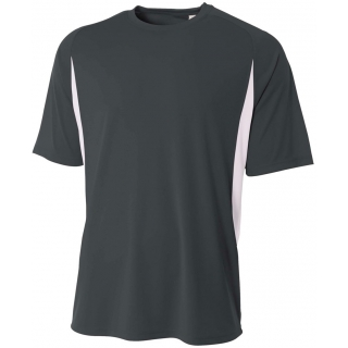 A4 Men's Performance Color Block Crew Shirt (Graphite)