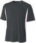 A4 Men's Performance Color Block Crew Shirt (Graphite) - A4 Men's Apparel Tennis Apparel