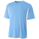 A4 Men's Performance Color Block Crew Shirt (Light Blue) - Men's Tops T-Shirts & Crew Necks Tennis Apparel