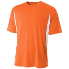 A4 Men's Performance Color Block Crew Shirt (Orange) - Men's Tops T-Shirts & Crew Necks Tennis Apparel