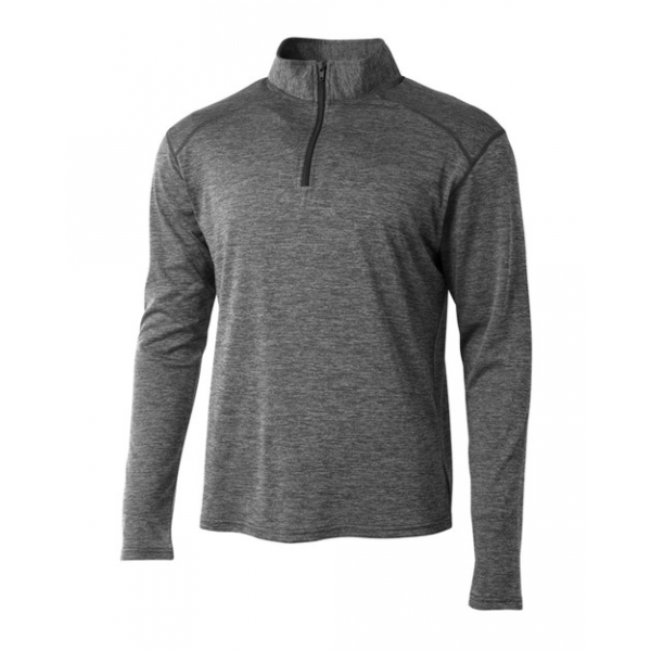 A4 Men's Inspire Quarter Zip Long Sleeve Tennis Warm-Up Top (Charcoal)