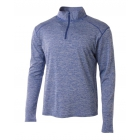 A4 Men's Inspire Quarter Zip Long Sleeve Tennis Warm-Up Top (Light Blue) - A4 Apparel