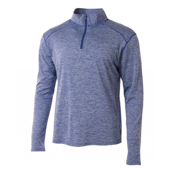 A4 Men's Inspire Quarter Zip Long Sleeve Tennis Warm-Up Top (Light Blue)