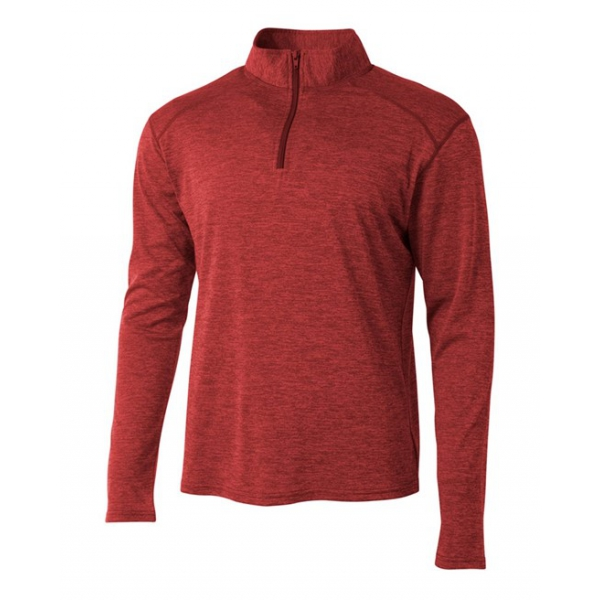 A4 Men's Inspire Quarter Zip Long Sleeve Tennis Warm-Up Top (Red)