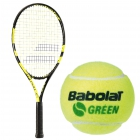 Babolat Nadal Jr Tennis Racquet, Green Tennis Ball Bundle - Junior Tennis Racquet + Ball Bundles