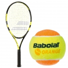 Babolat Nadal Jr Tennis Racquet, Orange Tennis Ball Bundle - Junior Tennis Racquet + Ball Bundles