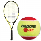 Babolat Nadal Jr Tennis Racquet, Red Felt Tennis Ball Bundle - Junior Tennis Racquet + Ball Bundles