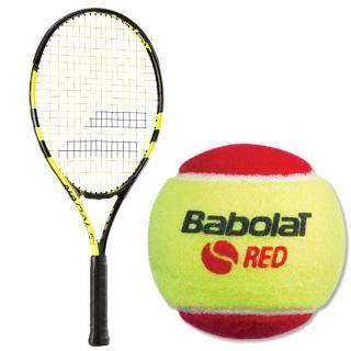 Babolat Nadal Jr Tennis Racquet, Red Felt Tennis Ball Bundle