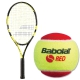 Babolat Nadal Jr Tennis Racquet, Red Felt Tennis Ball Bundle - Junior Bundle Packs