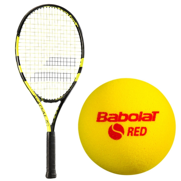 Babolat Nadal Jr Child's Tennis Racquet & Red Foam Play & Stay Tennis Ball Bundle