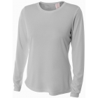 A4 Women's Performance Long Sleeve Crew (Silver) - Women's Tops Long-Sleeve Shirts Tennis Apparel