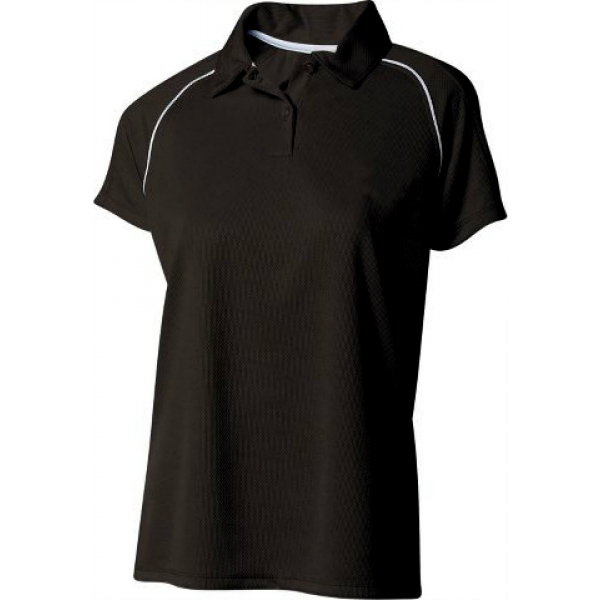 A4 Women's Moisture Management Polo Shirt (Black/ White)