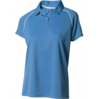 A4 Women's Moisture Management Polo Shirt (Light Blue/ White) - Women's Tops Tennis Apparel