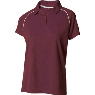 A4 Women's Moisture Management Polo Shirt (Maroon/ White)