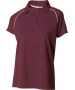 A4 Women's Moisture Management Polo Shirt (Maroon/ White) CLEARANCE - Tennis Apparel