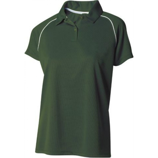 A4 Women's Moisture Management Polo Shirt (Forest/ White)
