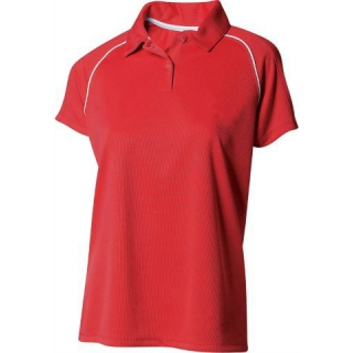 A4 Women's Moisture Management Polo Shirt (Scarlet/ White)