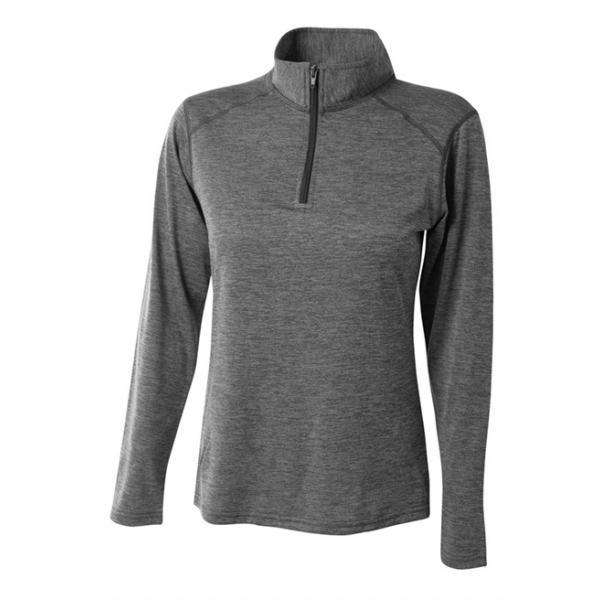 A4 Women's Inspire Quarter Zip Long Sleeve Tennis Warm Up Top (Charcoal)
