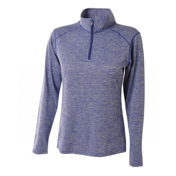A4 Women's Inspire Quarter Zip Long Sleeve Tennis Warm Up Top (Light Blue)