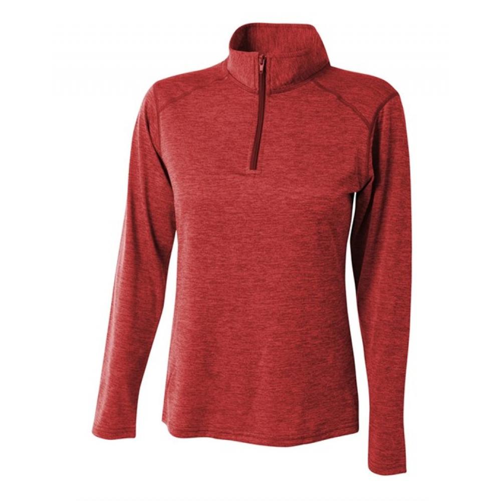 A4 Women's Inspire Quarter Zip Long Sleeve Tennis Warm Up Top (Red)