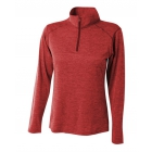 A4 Women's Inspire Quarter Zip Long Sleeve Tennis Warm Up Top (Red) - A4 Apparel