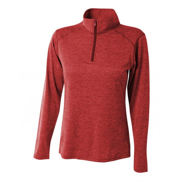 A4 Women's Inspire Quarter Zip Long Sleeve Tennis Warm Up Top (Red)