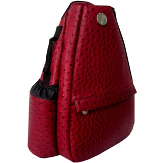 Jet Ostrich Crimson Small Sling