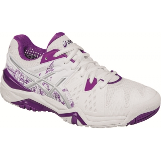 Asics Women's Gel Resolution 6 London Tennis Shoes (White/Silver/Purple)