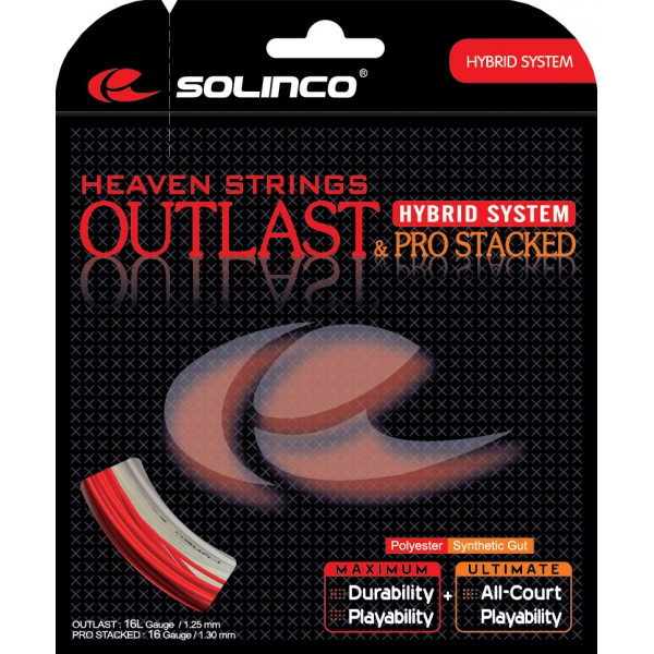 Solinco hybrid outlast 16l pro stacked 16g tennis string from do it