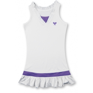 Little Miss Tennis Ruffled Sleeveless Dress (Wht/ Violet)