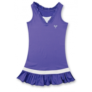 Little Miss Tennis Ruffled Sleeveless Dress (Violet/ Wht)