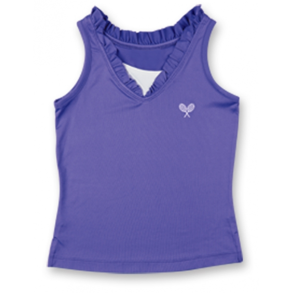 Little Miss Tennis Ruffled Tank (Violet/ Wht)