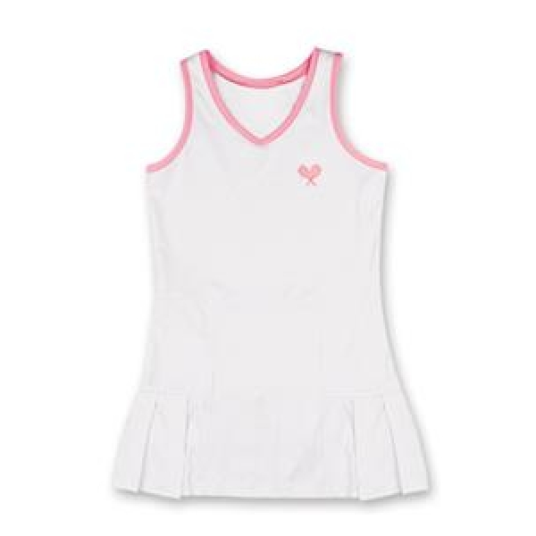 Little Miss Tennis Pleated Sleeveless Dress (White/ Pink)