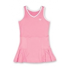 Little Miss Tennis Pleated Sleeveless Dress (Pink/ White) - Girls's Tennis Apparel