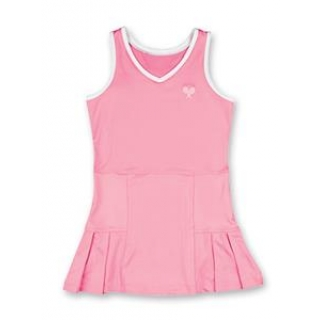 Little Miss Tennis Pleated Sleeveless Dress (Pink/ White)