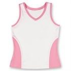 Little Miss Tennis Color Block Tank (White/ Pink) - Girls's Tennis Apparel