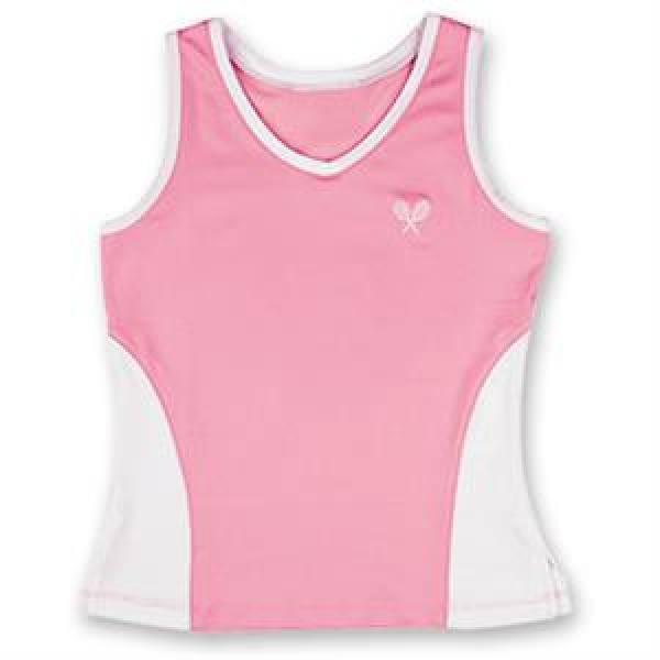 Little Miss Tennis Color Block Tank (Pink/ White)